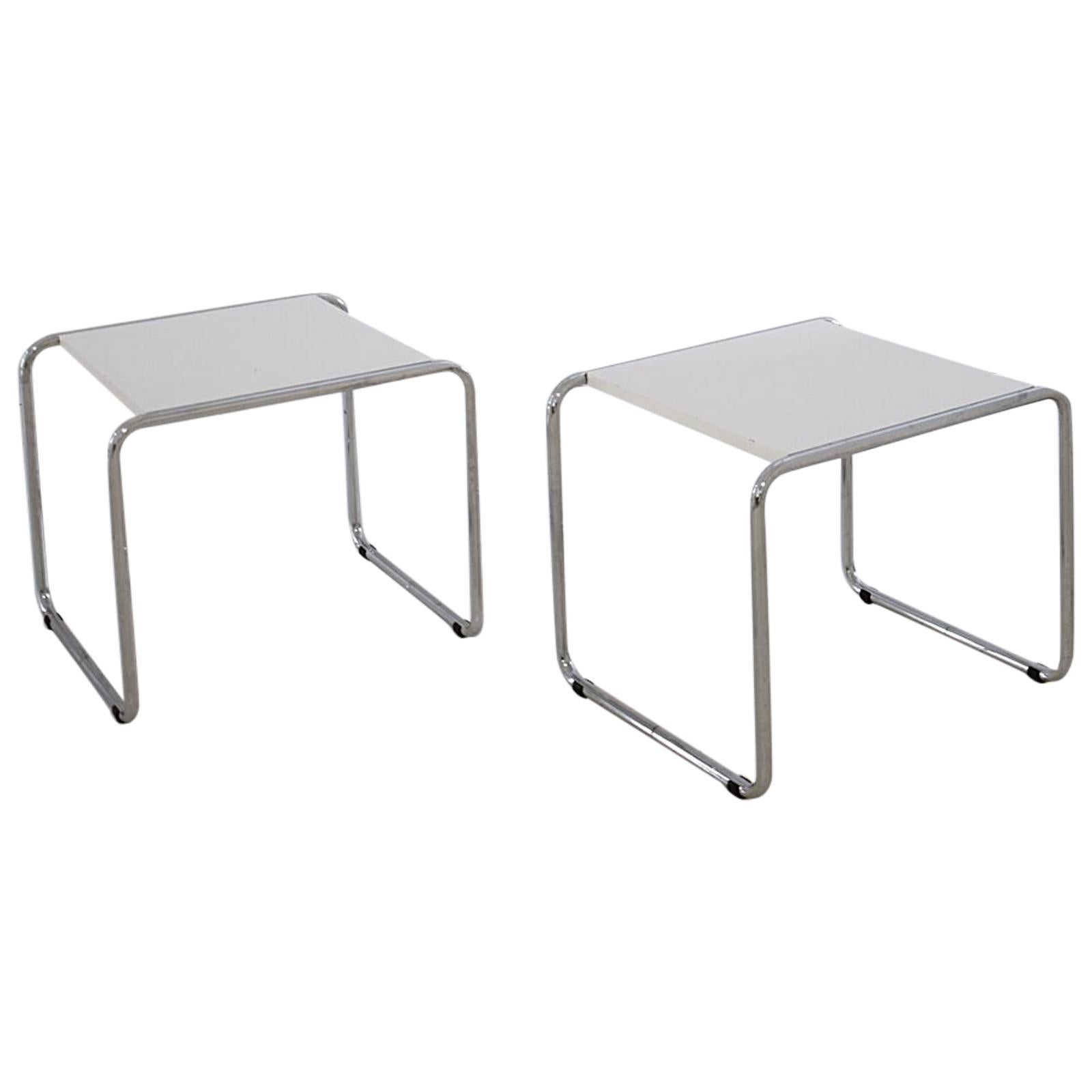 Pair of Bauhaus Tubular Side Tables after Marcel Breuer, Italy, 1990