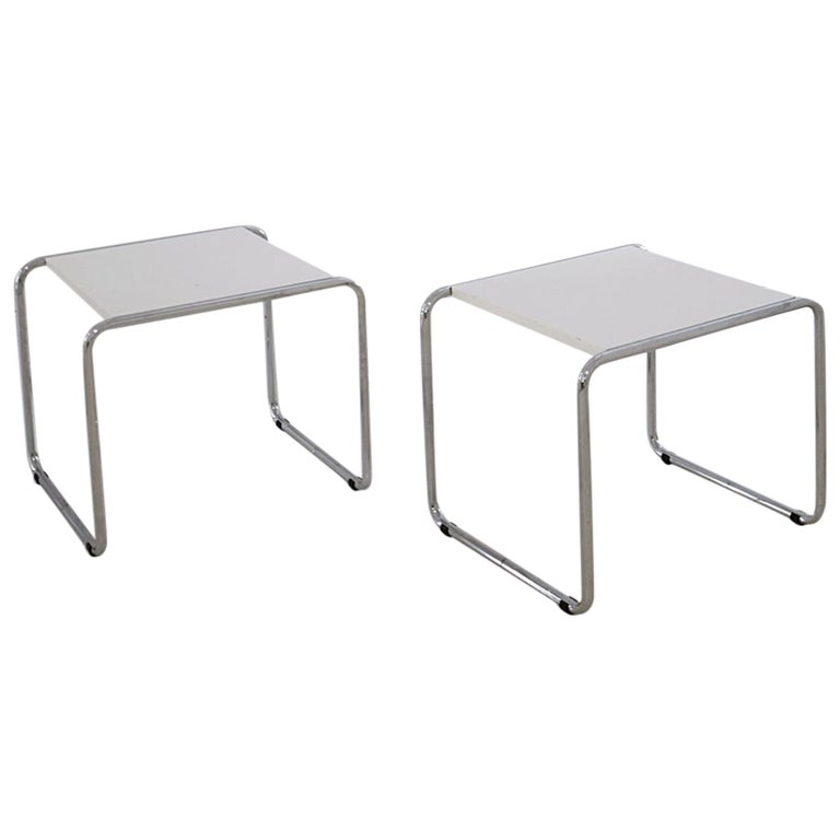 Pair of Bauhaus Tubular Side Tables after Marcel Breuer, Italy, 1990 For Sale