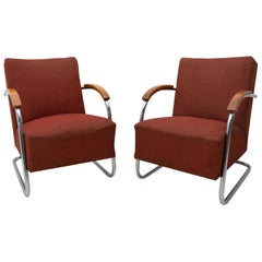 Pair of Bauhaus Tubular Steel Armchairs by Mücke & Melder, 1950s