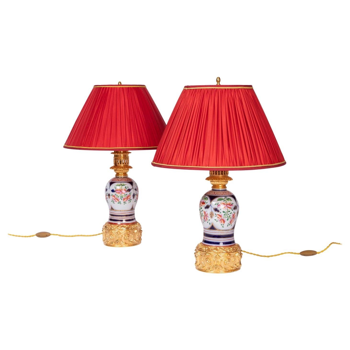Pair of Bayeux Porcelain Lamps, End of the 19th Century