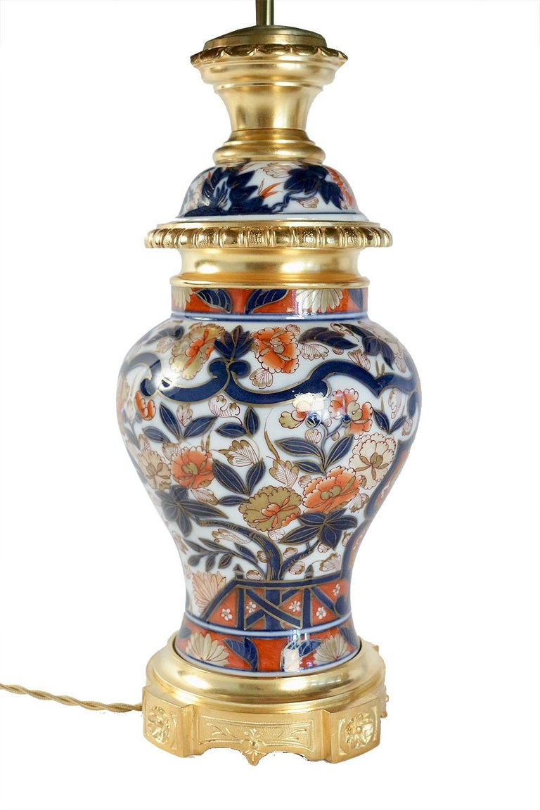 French Pair of Bayeux Porcelain Lamps, Imari Decor, 19th Century For Sale