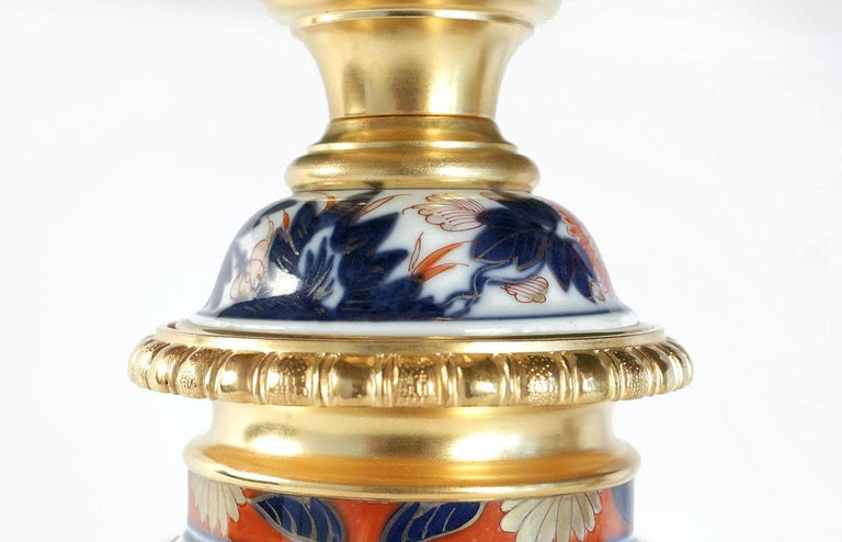Gilt Pair of Bayeux Porcelain Lamps, Imari Decor, 19th Century For Sale