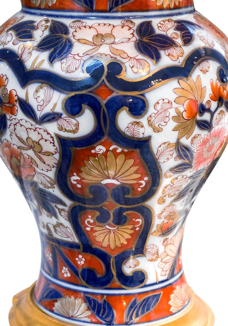 Bronze Pair of Bayeux Porcelain Lamps, Imari Decor, 19th Century For Sale