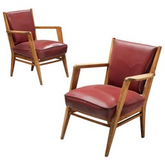 Pair of BBPR Lounge Chairs in Burgundy Leatherette