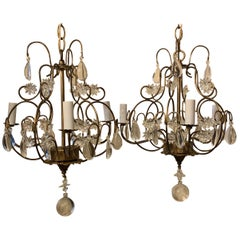 Wonderful Pair Beaded Crystal Star Gold Gilt Petite Chandeliers 3-Light Fixtures