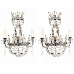 Pair of Beaded Maria Theresa Three-Light Sconces