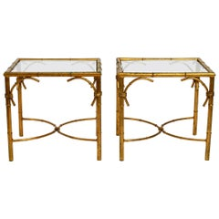Pair of Beautiful 1970s Gold-Plated Metal Side or Coffee Tables by Hans Kögl