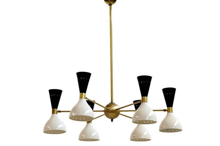 Pair of Beautiful Adjustable Large Italian Sconces Brass Stilnovo Style Bi-Color For Sale 1