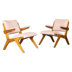 Lina Bo Bardi Style Pair of Beautiful Armchairs, Brazilian Midcentury Design