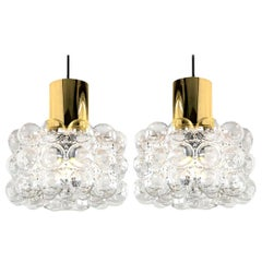 Pair of Beautiful Bubble Glass Pendant Lamps by Helena Tynell, 1960