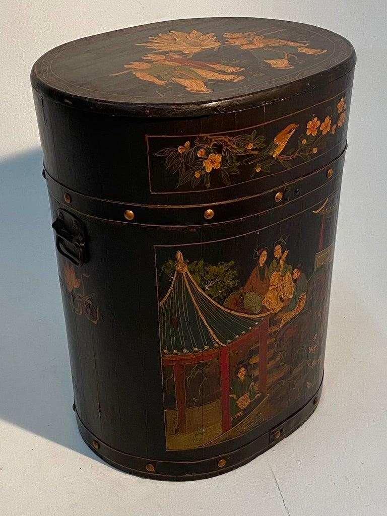 Pair of Beautiful Chinese Painted End Table Nightstands with Storage For Sale 5