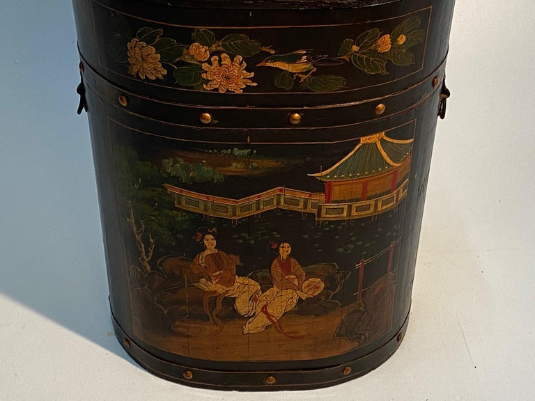 Pair of Beautiful Chinese Painted End Table Nightstands with Storage For Sale 11