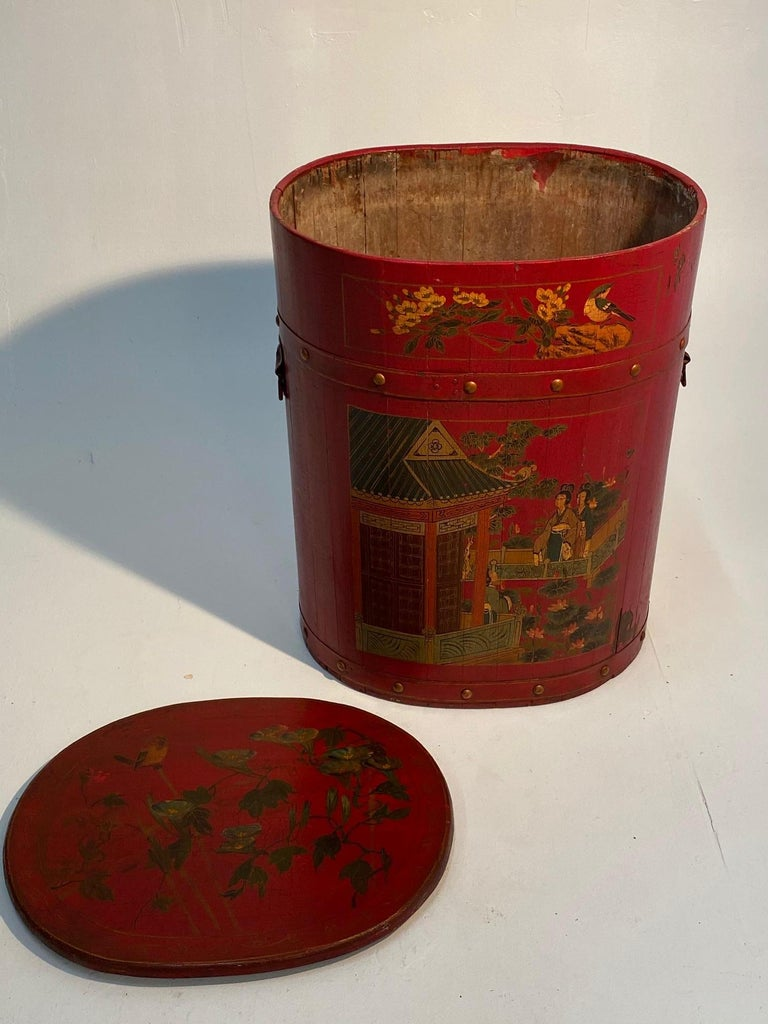 Chinese Export Pair of Beautiful Chinese Painted End Table Nightstands with Storage For Sale