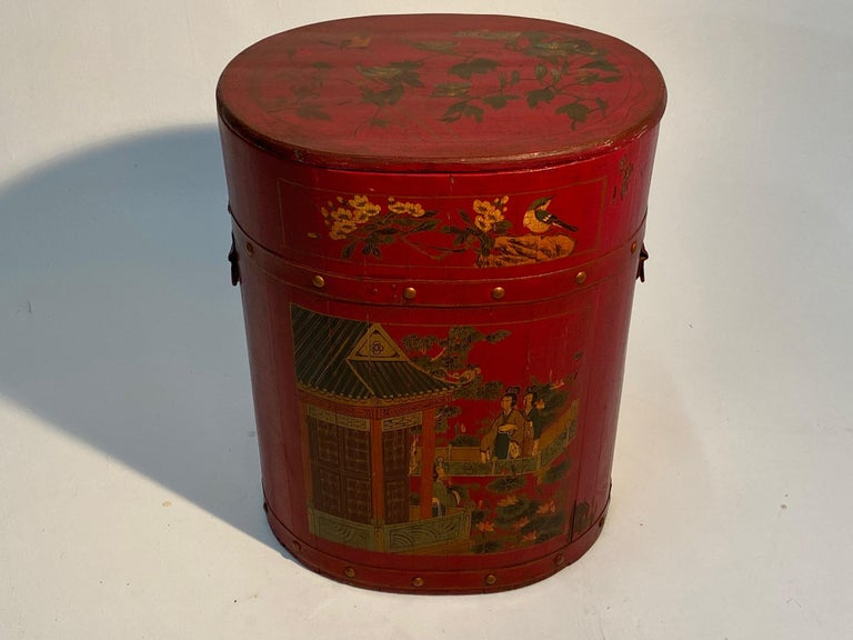 Wood Pair of Beautiful Chinese Painted End Table Nightstands with Storage For Sale