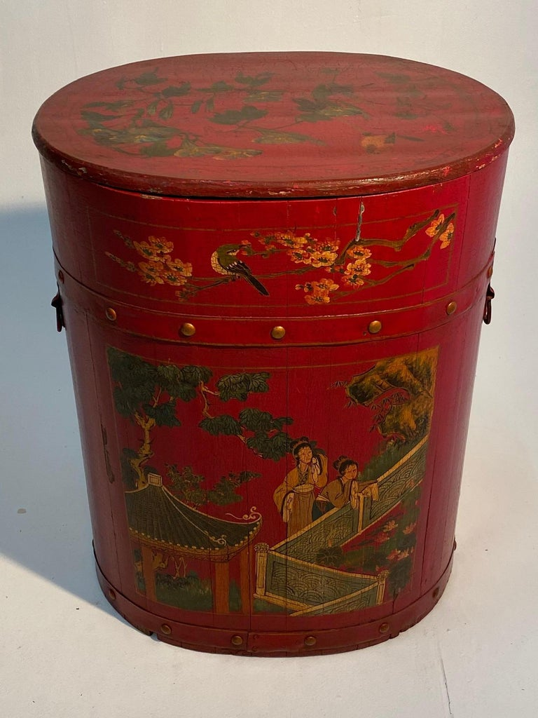 Pair of Beautiful Chinese Painted End Table Nightstands with Storage For Sale 2