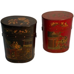 Pair of Beautiful Chinese Painted End Table Nightstands with Storage