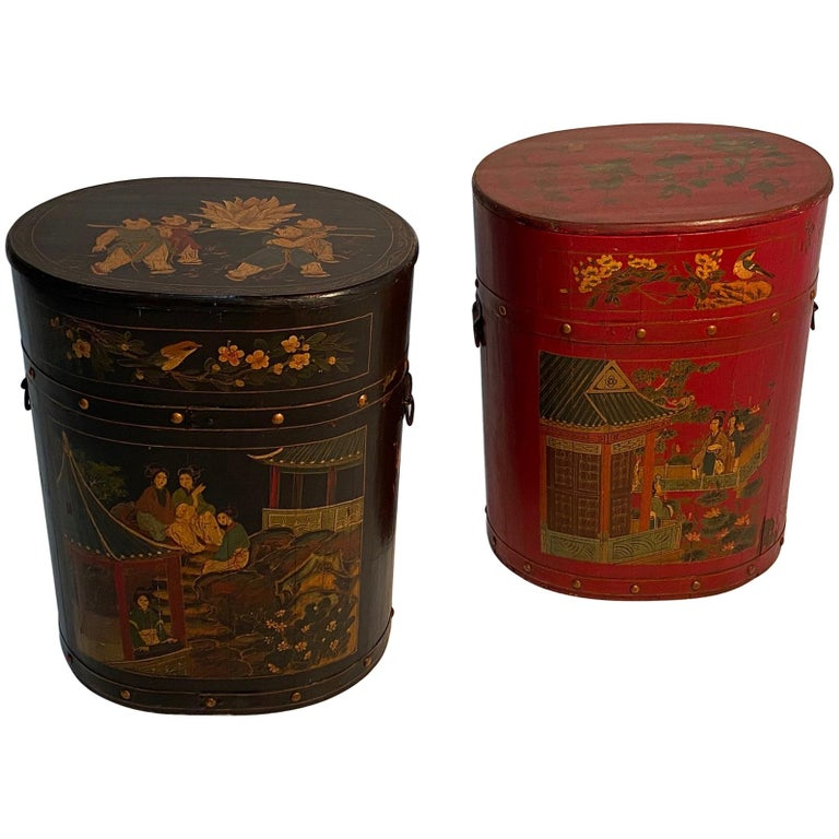 Pair of Beautiful Chinese Painted End Table Nightstands with Storage For Sale