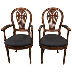Pair of Beautiful Fruitwood Balloon Motife Back Carved Wood Armchairs