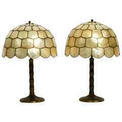 Pair of Beautiful Large 1960s Brass Table Lamps with Mother of Pearl Shades