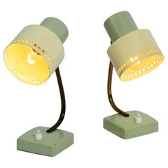 Pair of Beautiful Midcentury Metal Bedside Lamps in Mint Green and Yellow