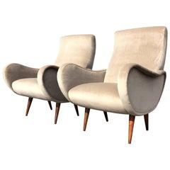 Pair of Beautiful Organic Lounge Chairs, Walnut, Velvet