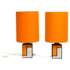 Pair of Beautiful Rare Italian 1960s Ceramic Table Lamps