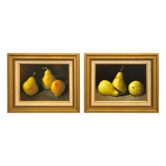 Pair of Beautiful Realist Still Life Paintings of Pears