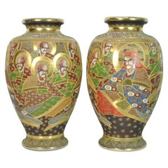 Pair of Beautiful Vases with Gold Decorations Japan 1900 Imperial Satsuma