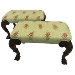 Pair of Beautifully Carved and Upholstered Benches