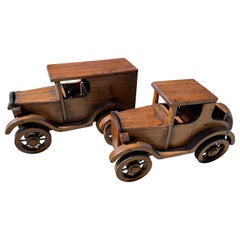 Pair of Beautifully Crafted Handmade Wooden Large Automobiles