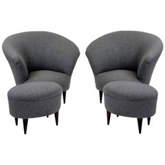 Pair of Beautifully Curved Parisi Armchairs with Foot Stools