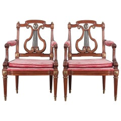 Pair of Beautifully Detailed 'Lyre Back' Armchairs