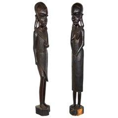 Pair of Beautifully Hand Carved Ebony Tanzanian Sculpture