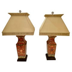 Pair of Beautifully Patterned Chinese Ceramic Table Lamps with Custom Shades