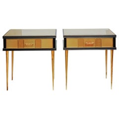 Pair of Bed Side or Commodes in Teinted Glass with One Drawer