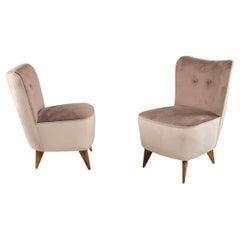 Pair of Bedroom Velvet Wood Legs Small Slipper Armchairs Set of 2