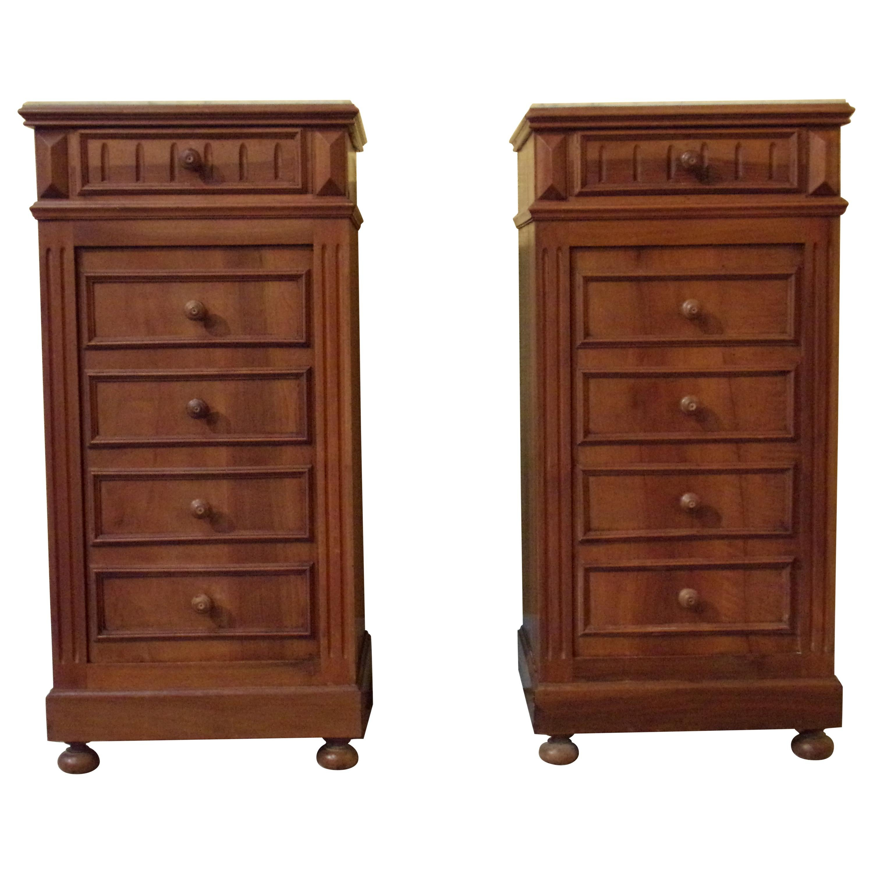 Pair of Bedside Cabinets with Marble Tops, C1890