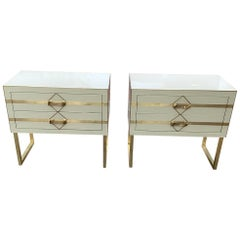 Pair of Bedside in Tinted Glass and Brass with Two Drawers