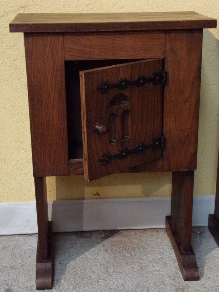 Other Pair of Bedside or End Table Cabinets in 15th Century Aumbry Style For Sale