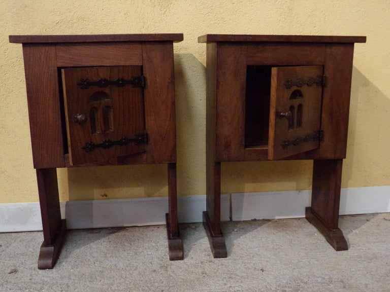 French Pair of Bedside or End Table Cabinets in 15th Century Aumbry Style For Sale