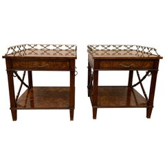 Pair of Bedside or Lamp Tables in Flame Mahogany