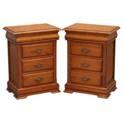 Pair of Bedside Table Drawers with Four Drawers Each, Cherry Color Wood