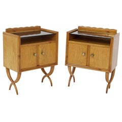 Pair of Bedside Tables by Paolo Buffa in Wood Glass and Brass, 1950s