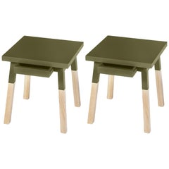 Pair of Bedside Tables in Ash Wood, Design by Eric Gizard, 100% Made in France