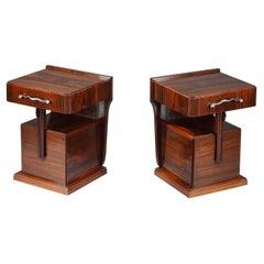 Pair of Bedside Tables in Macassar Ebony Veneer