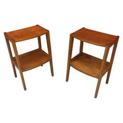 two Bedside Tables in Oak and Oak Veneer, circa 1950