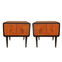 Pair of Bedside Tables in Rosewood and Briar Root Original Italy, 1940s