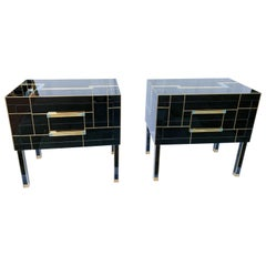 Pair of Bedside Tables in Tinted Glass Signed Martin Studio