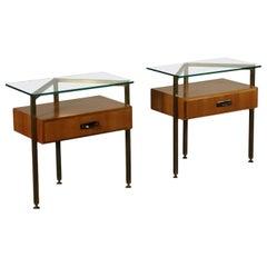 Pair of Bedside Tables Mahogany Veneer Brass Glass, Italy, 1960s