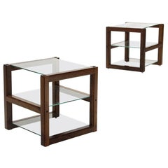 Pair of Bedside Tables with Glass Tops, 1960s